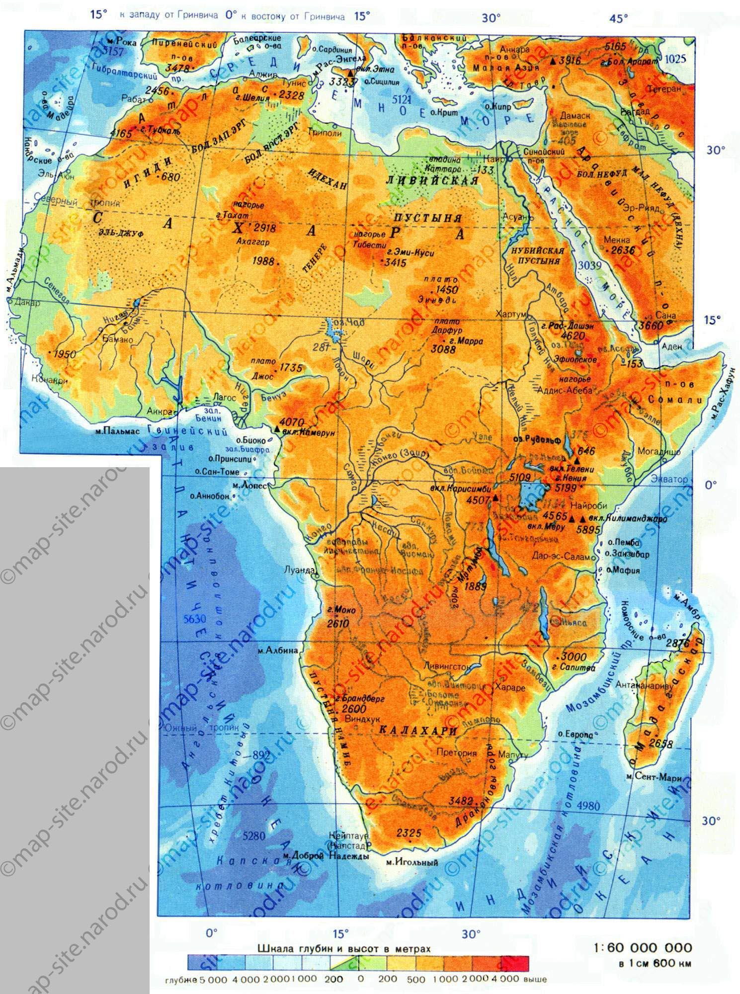 Географическая (физическая) и политическая карта Африки на русском языке: карта стран, пустынь и гор материка.