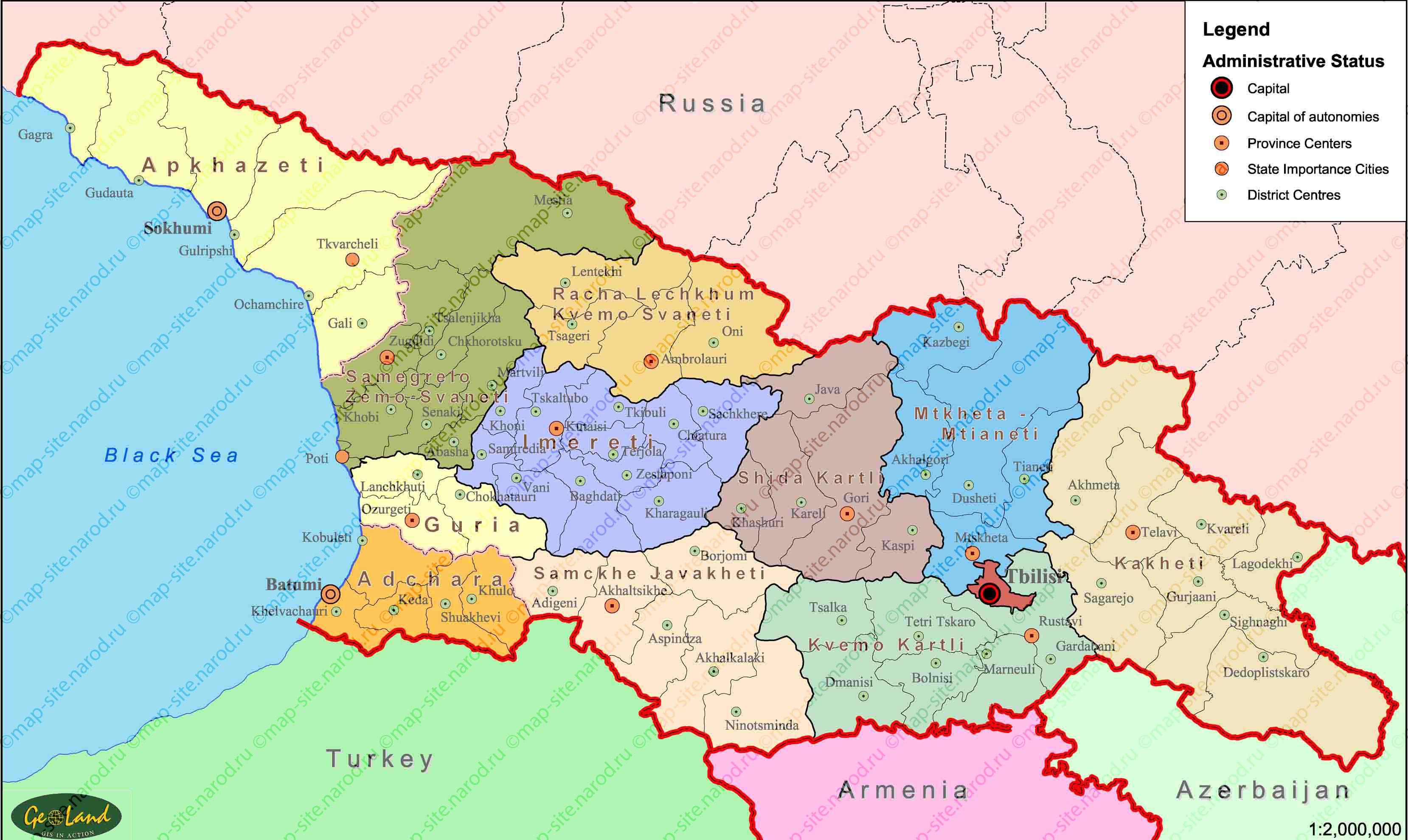 Map Of Georgia - Georgia map in english