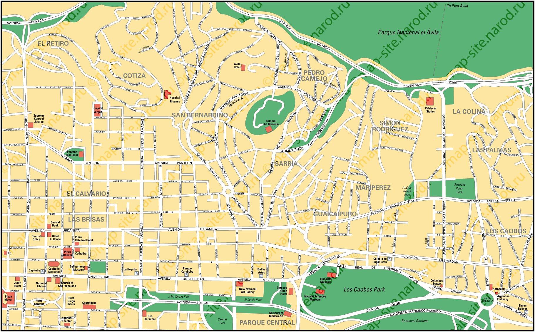 Map of Caracas Caracas Map on