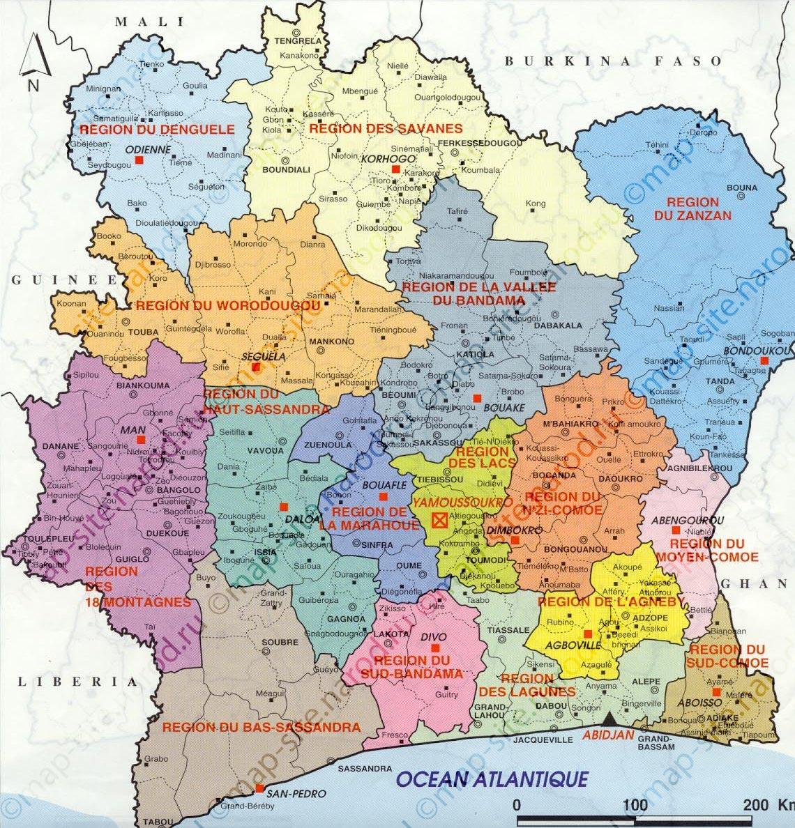Административная карта кот д ивуара