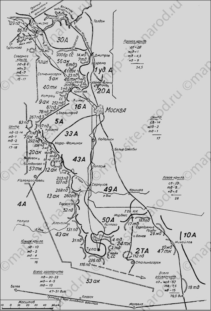Карта московской битвы 1941 .