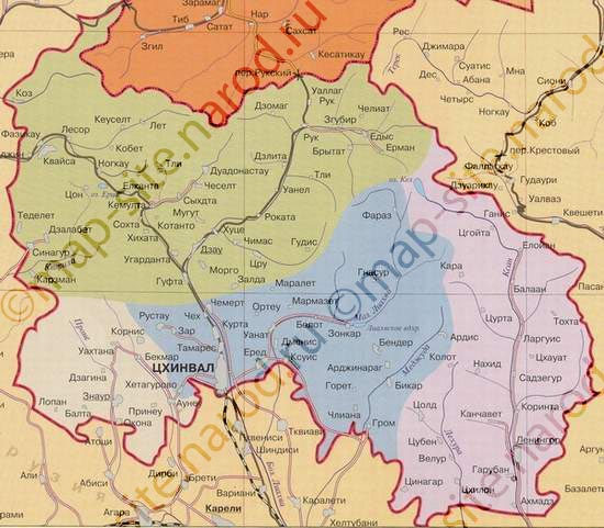 Map Of South Ossetia Южная Осетия Maps Of South Ossetia - South ossetia map